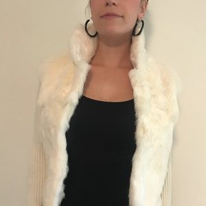 Cream Fur Sweater Jacket